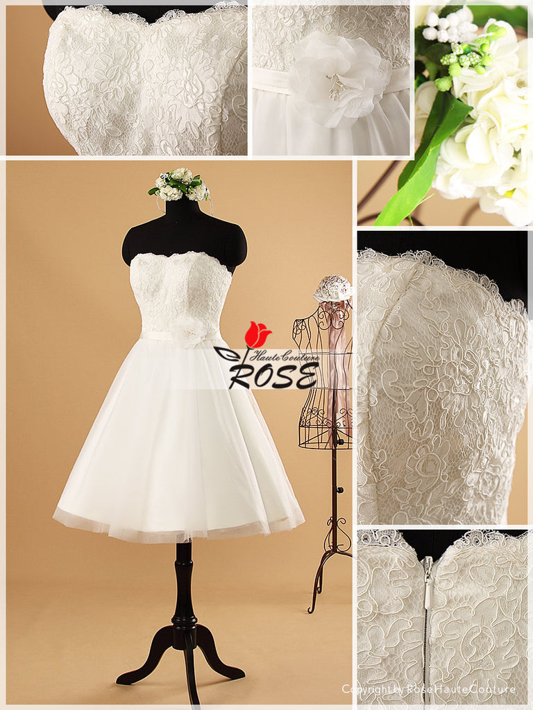 Knee Length Strapless Lace Wedding Dress Tulle Skirt Organza Flowers Style WD051 - LaRovias
