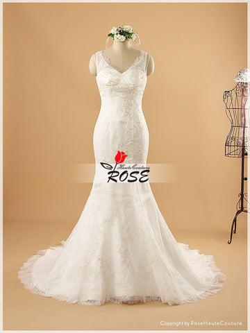 Sweetheart Mermaid Satin and Lace Wedding Dress Zipper and Buttons Back Style WD063 - LaRovias