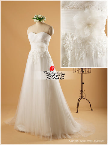A Line Sweetheart Tulle and Lace Wedding Dress Organza Flower Removable Jacket Style WD076 - LaRovias
