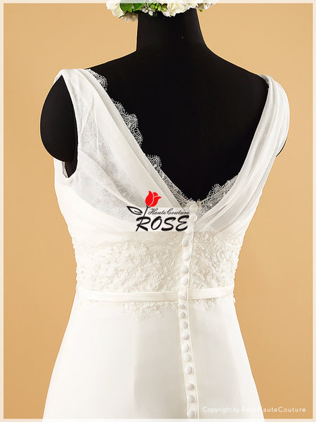 A Line V Neckline Chiffon Wedding Dress Bridal Gown Lace Trim Satin Waistband Style WD071 - LaRovias