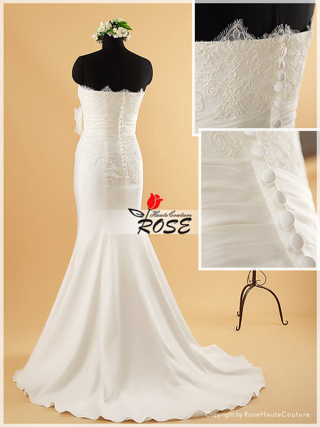 Mermaid Wedding Dress Bridal Gown Corded Lace Top Handmade Flower Button Back Style WD080 - LaRovias