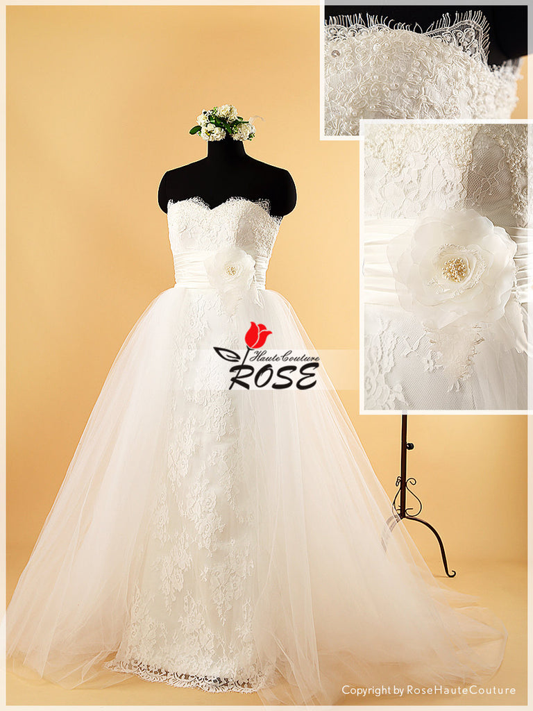Slim A Line Alencon Lace Wedding Dress Bridal Gown with Beads Handmade Flower Satin Sash Tulle Train Style WD077 - LaRovias