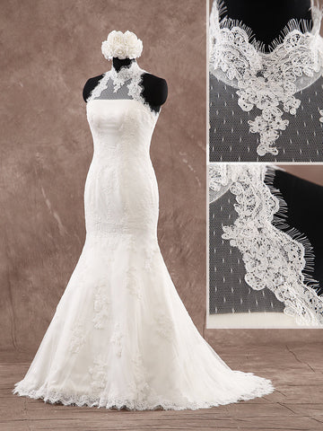 Halter Neckline Strapless Lace Mermaid Wedding Dresses Button Back Style WD082 - LaRovias