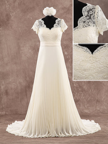 A Line Sweetheart Lace and Folded Chiffon Wedding Dresses with Satin Waist Sash Style WD081 - LaRovias