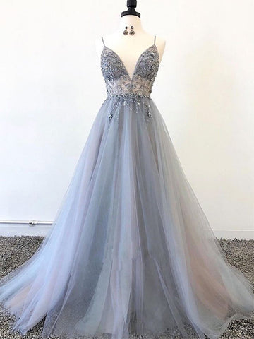 A-Line Tulle and Beaded Prom Dresses Party Dresses with Spaghetti Straps LPD001 - LaRovias
