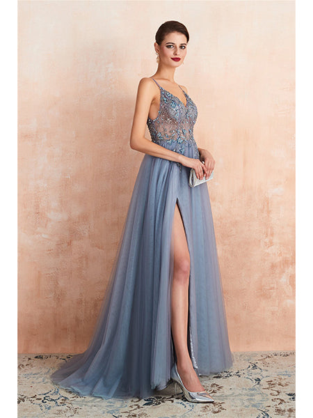 Backless Tulle Beaded Prom Dresses Party Dresses with Spaghetti Straps LPD012 - LaRovias