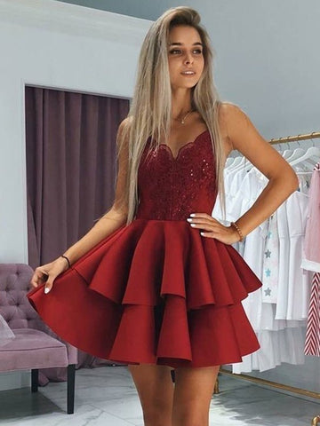 Burgundy Homecoming Dress Sweet 16 Dresses with Spaghetti Straps LPD032 - LaRovias