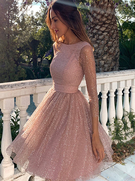Pink Sparkling Homecoming Dresses Party Dresses with Sleeves LPD033 - LaRovias