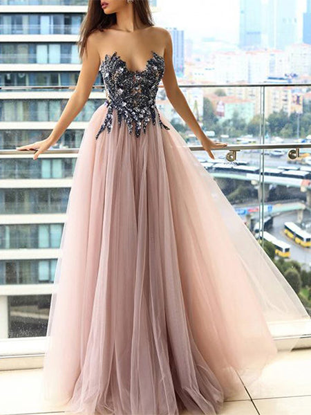 Beaded Tulle Prom Dresses Party Dresses Formal Gowns LPD036 - LaRovias