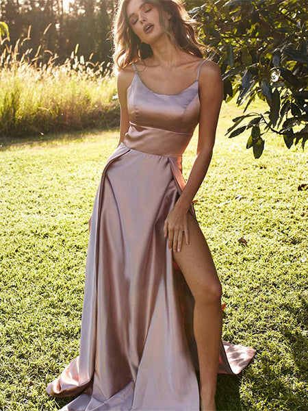 Satin Prom Dresses Party Dresses Formal Gowns with Slit LPD042 - LaRovias