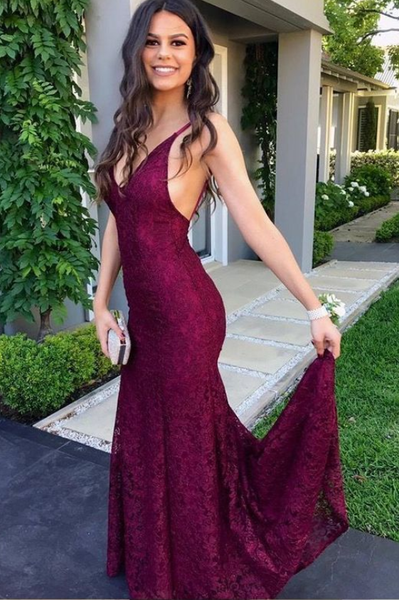 Mermaid Lace Prom Dresses Party Dresses Formal Gowns with Spaghetti Straps LPD045 - LaRovias