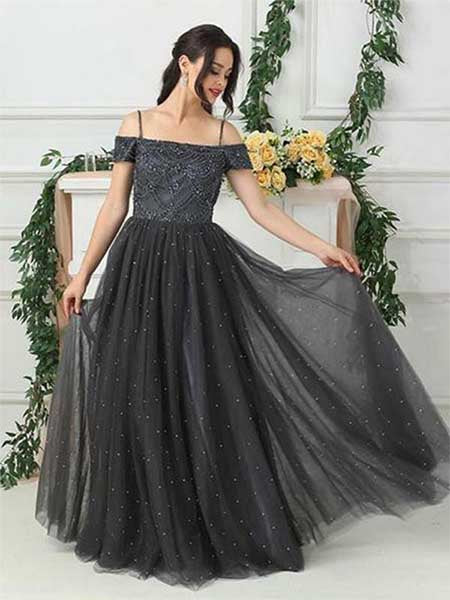 Off the Shoulder Prom Dresses Party Dresses with Spaghetti Straps LPD052 - LaRovias