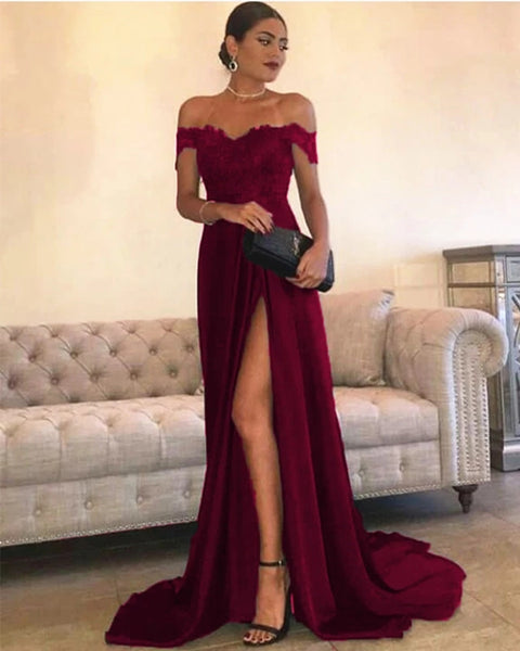 Off the Shoulder Prom Dresses Formal Dresses Wedding Party Dresses with Slit LPD055 - LaRovias