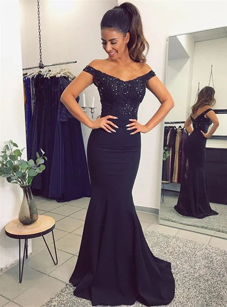 Off the Shoulder Mermaid Lace and Satin Prom Dresses Party Gowns LPD062 - LaRovias