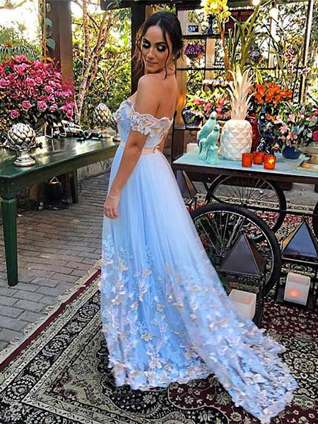 Off the Shoulder A Line Prom Dresses Party Dresses Formal Gowns LPD064 - LaRovias