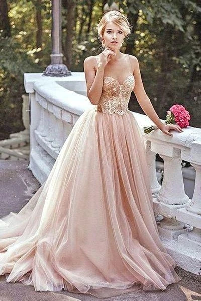 Tulle Prom Dresses Evening Dresses Party Dresses with Spaghetti Straps LPD079 - LaRovias