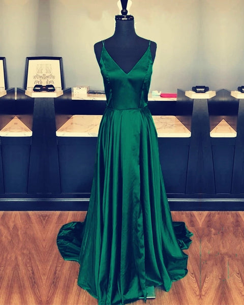 Satin Prom Dresses Evening Dresses Party Dresses with Spaghetti Straps PD091 - LaRovias
