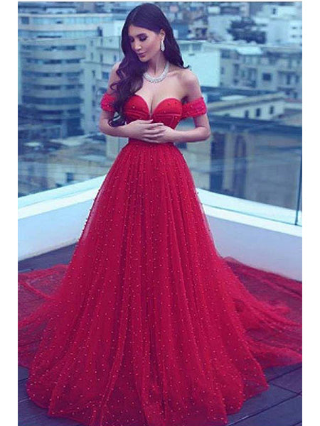 Off the Shoulder Prom Dresses Formal Dresses Wedding Party Dresses LPD333 - LaRovias