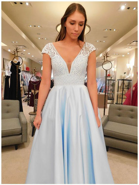Satin and Lace Prom Dresses Formal Dresses Wedding Party Dresses LPD348 - LaRovias