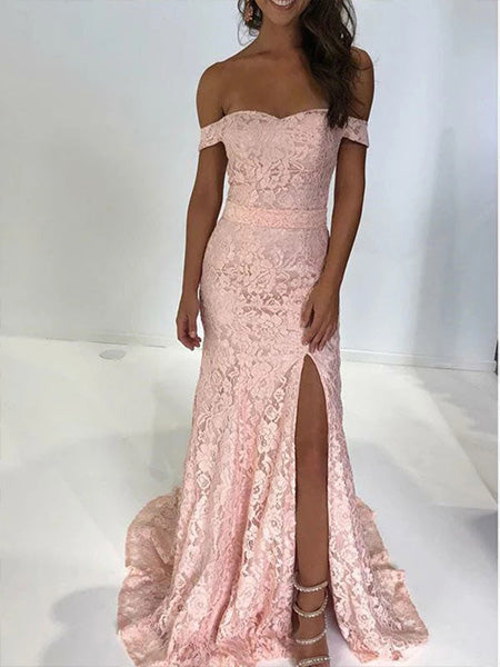 Off the Shoulder Lace Prom Dresses Formal Dresses Wedding Party Dresses LPD371 - LaRovias