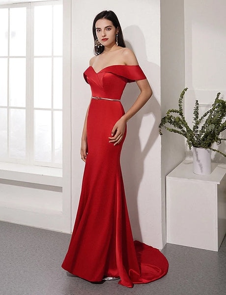 Off the Shoulder Prom Dresses Formal Dresses Wedding Party Dresses LPD386 - LaRovias