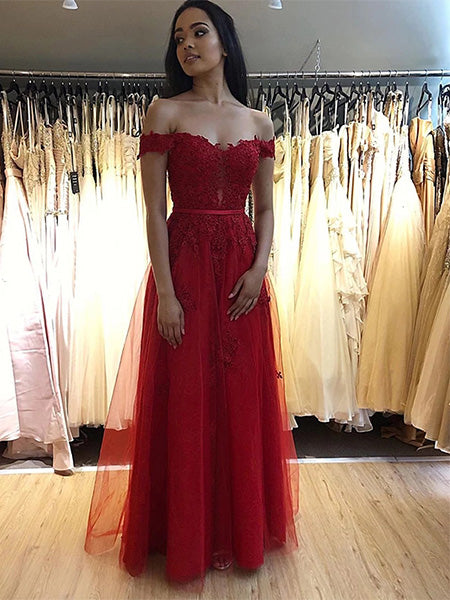 Off the Shoulder Prom Dresses Formal Dresses Wedding Party Dresses LPD391 - LaRovias