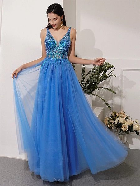 Beaded Tulle Formal Dresses Prom Dresses Wedding Party Dresses LPD394 - LaRovias
