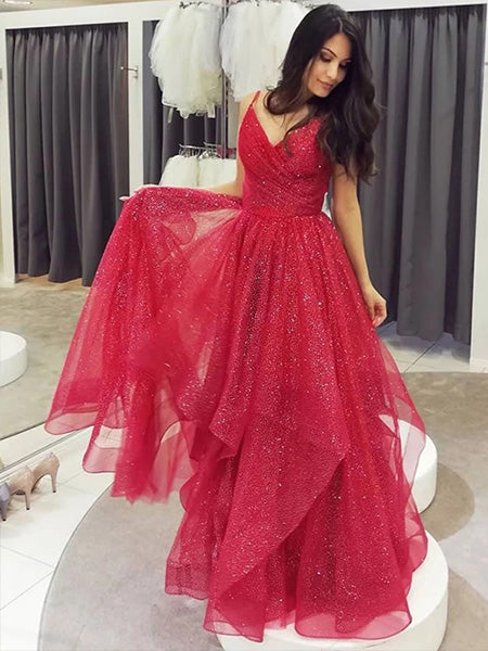 Shiny Tulle Prom Dresses Formal Dresses Wedding Party Dresses LPD399 - LaRovias