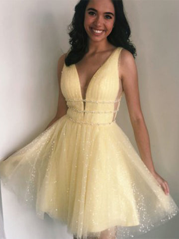Yellow Homecoming Dresses Wedding Party Dresses LPD401 - LaRovias