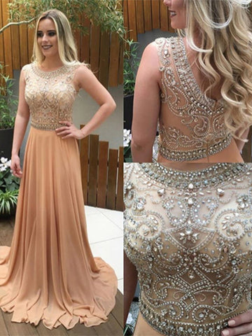 Beaded Chiffon Prom Dresses Formal Dresses Wedding Party Dresses LPD461 - LaRovias