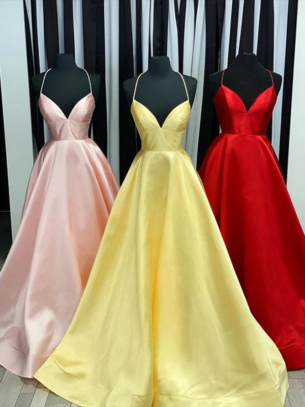 Halter Satin V Neckline Prom Dresses Formal Dresses Party Gowns LPD919 - LaRovias