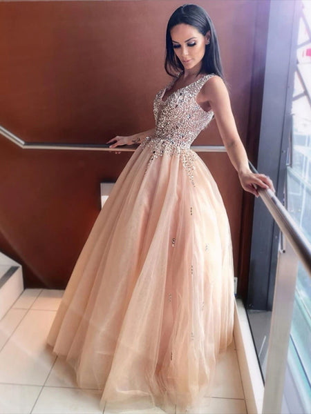 Beaded Tulle Prom Dresses Formal Dresses Party Gowns LPD925 - LaRovias