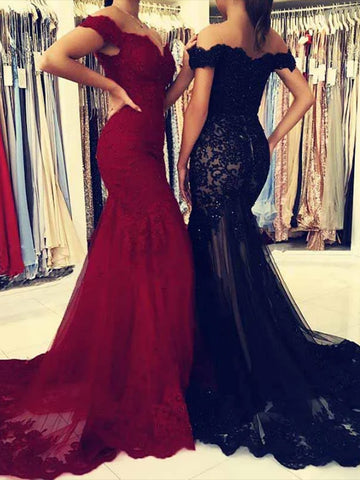 Mermaid Tulle and Lace Prom Dresses Formal Dresses Party Gowns LPD926 - LaRovias