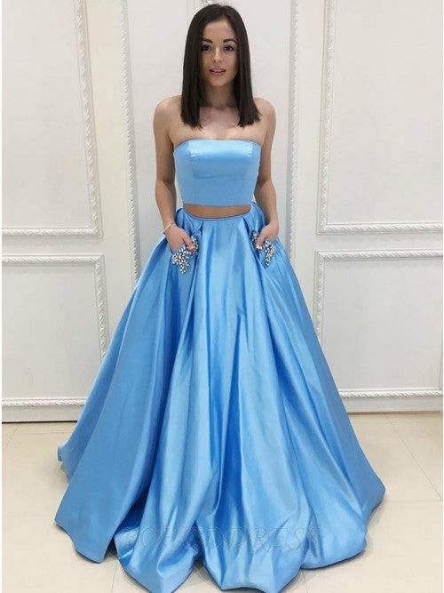Two Pieces Prom Dresses Wedding Party Dresses with Pockets LPD949 - LaRovias