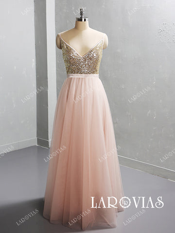 Sparkling Tulle Bridesmaid Dresses with Spagetti Straps LR063 - LaRovias