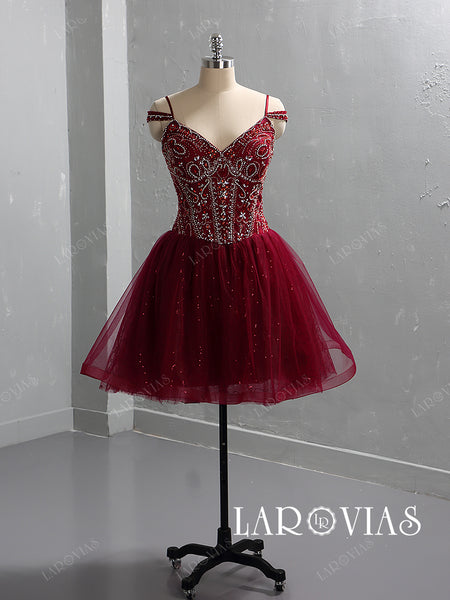 Sparkling Beaded Tulle Homecoming Dresses LR064 - LaRovias