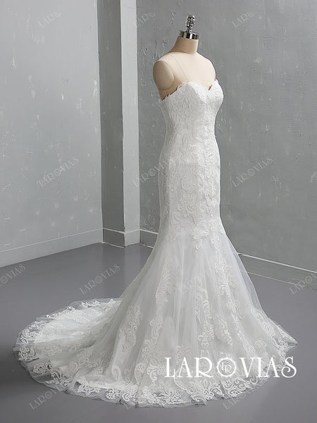 Mermaid Sweetheart Neckline Lace and Tulle Wedding Dress LR065 - LaRovias