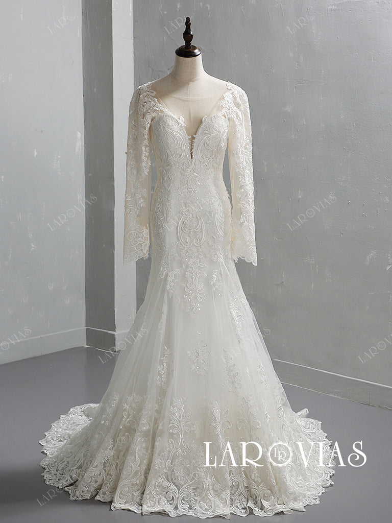 Mermaid Lace and Tulle Wedding Dress Bridal Gown with Long Sleeves LR066 - LaRovias