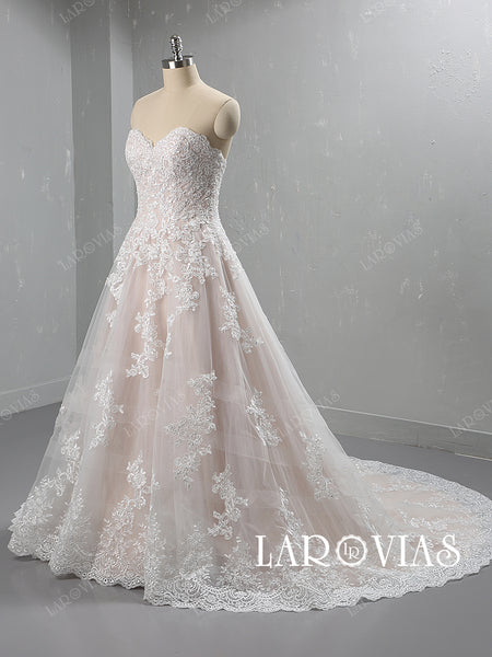 Tulle and Lace Wedding Dress Bridal Gown Sweetheart Neckline LR067 - LaRovias