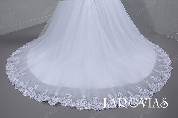 2019 Ball Gown Tulle and Lace Wedding Dress Lace Up Back LR069 - LaRovias