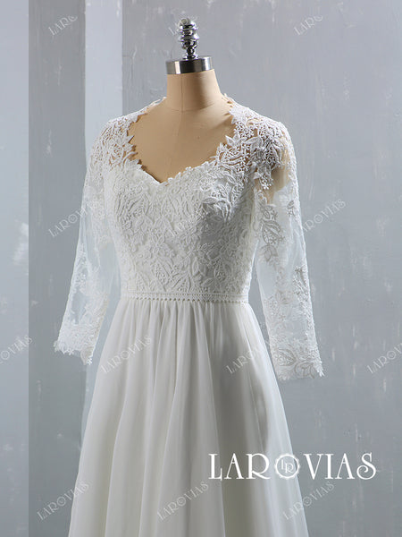 Lace and Chiffon Wedding Dress with Long Sleeves LR070 - LaRovias