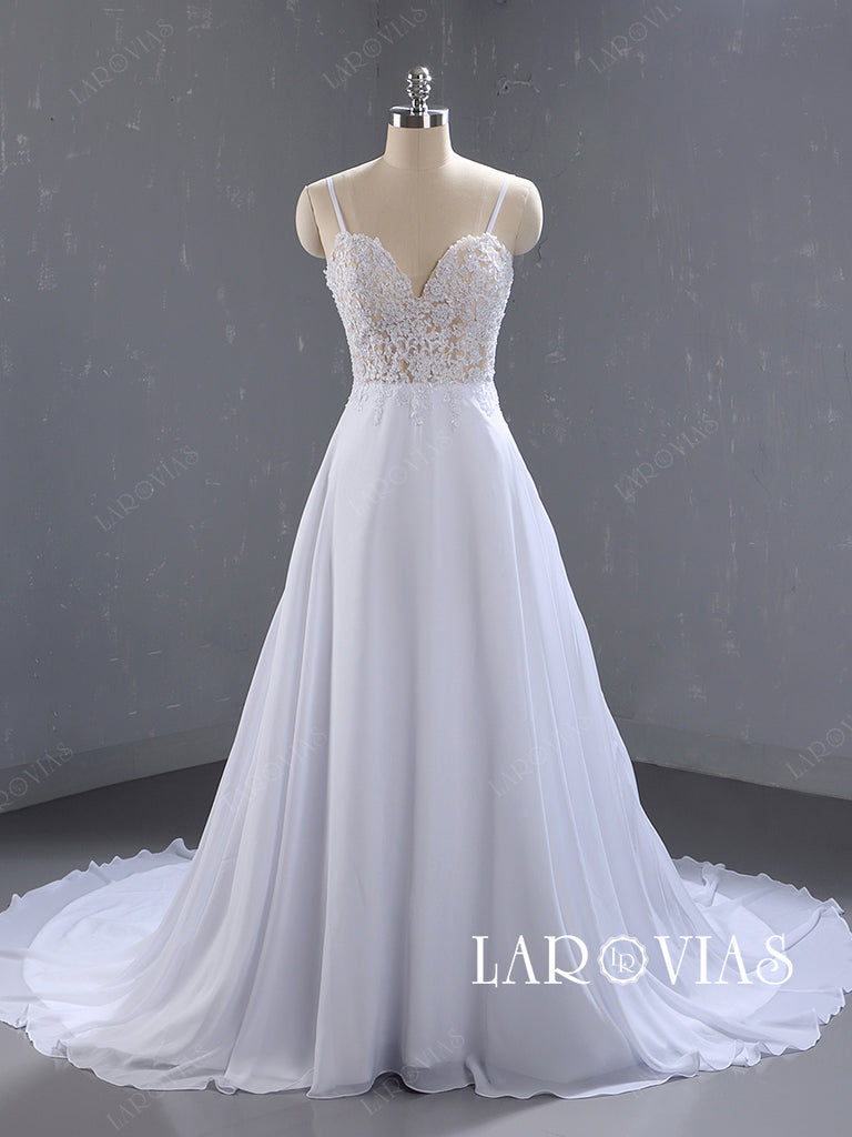 Lace and Chiffon Beach Wedding Dresses Bridal Gown with Spagetti Straps LR076 - LaRovias