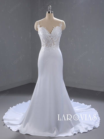 Lace and Satin Mermaid Wedding Dresses with Spagetti Straps LR078 - LaRovias