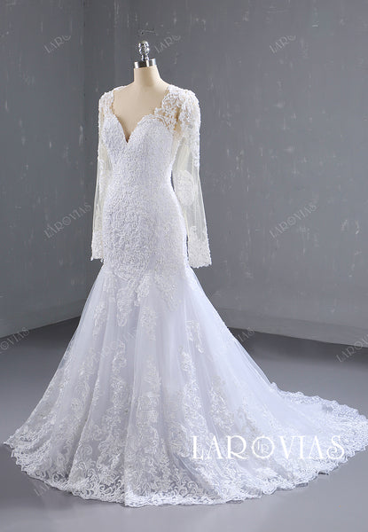 Mermaid Lace and Tulle Wedding Dress Detachable Skirt with Sleeves LR079 - LaRovias