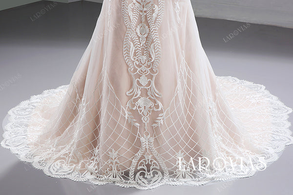 Mermaid Lace Wedding Dress Bridal Gown V Back LR080 - LaRovias