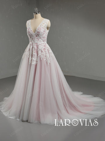 Ivory and Pink Lace and Tulle Wedding Dress V Neckline Zipper Back LR083 - LaRovias