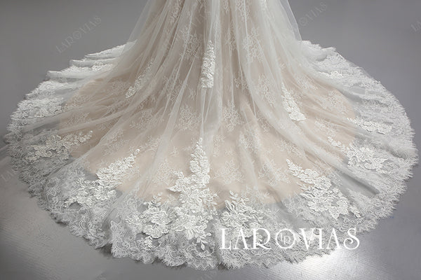 Mermaid Tulle and Lace Wedding Dress Illusion Back LR085 - LaRovias