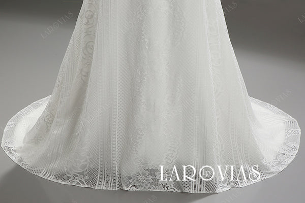 Trumpet Lace Wedding Dress Lace Up Back LR086 - LaRovias