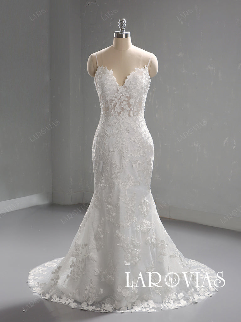Mermaid Lace Wedding Dress Spaghetti Straps Zipper Back LR087 - LaRovias