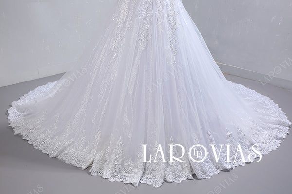 Sparkling Tulle and Lace Wedding Dress LR097 - LaRovias